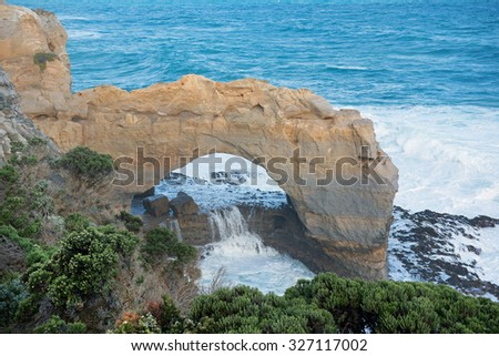 The Arch limestone rock formation, Great Ocean Road, Port Campbell National Park, Victoria, Australia - stock photo