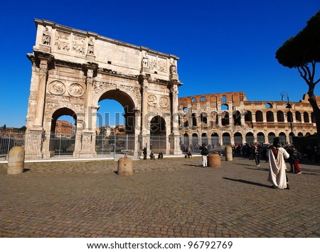 The Arch of Constantine, Rome, Italy - stock photo