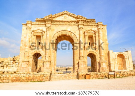 The Arch of Hadrian in Gerasa, Jerash, Jordan is an 11-metre high triple-arched gateway erected to honor the visit of Roman Emperor Hadrian to the city in the winter of 129-130.