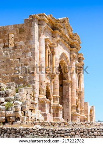 The Arch of Hadrian in the ancient city of Jerash (Gerasa of Antiquity),