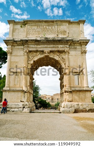The Arch of Titus, Rome - stock photo