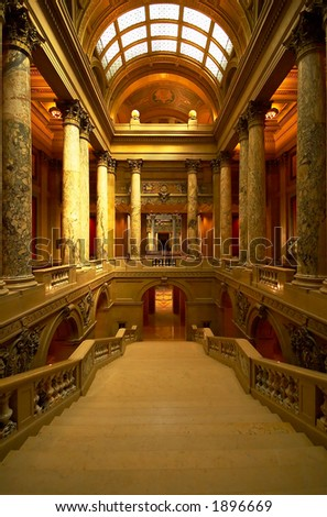 The arch, stairs, columns and the lighting in the MN Capitol. More with keyword Series002