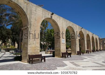 The Arches of the Upper Barrakka Gardens in Valletta, Malta. - stock photo