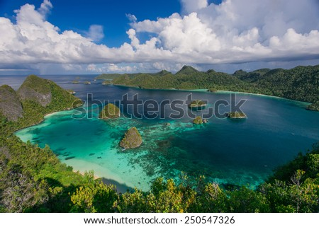 The archipelago of paradise islands in the ocean - stock photo