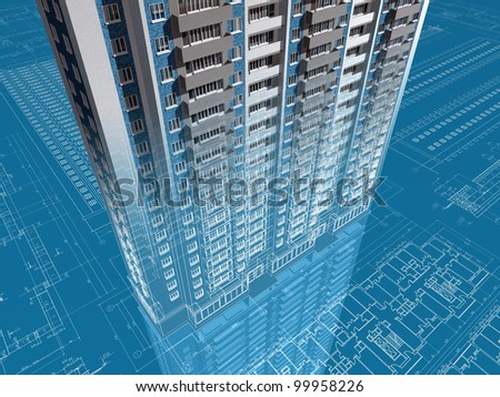 The architectural project of house. 3D image. - stock photo