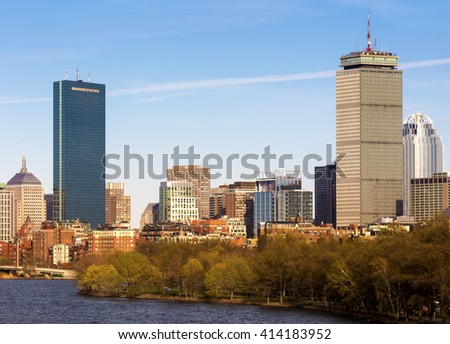 The architecture of Boston in Massachusetts, USA on a sunny summer day. - stock photo