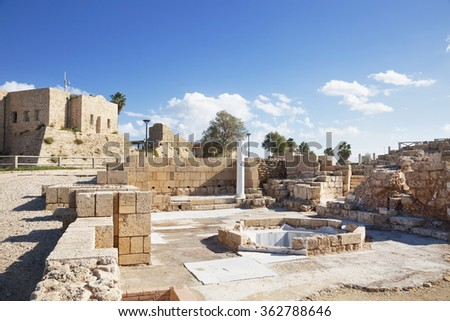 The architecture of the Roman period in the national park Caesarea on the Mediterranean coast of Israel