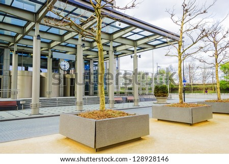 The area in front of the modern office building - stock photo