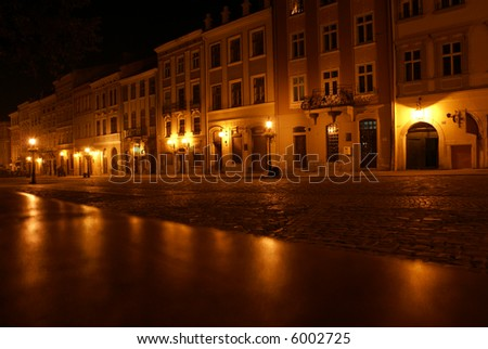 The area of Lvov at night
