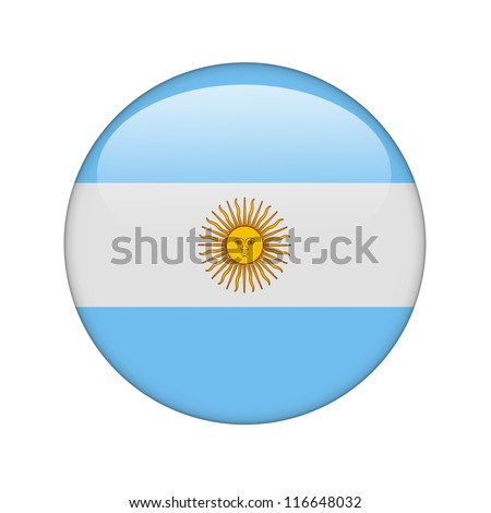 The Argentine flag in the form of a glossy icon. - stock photo