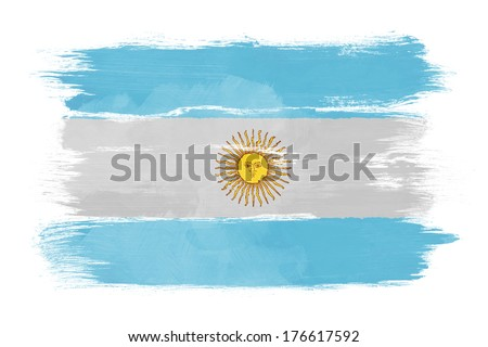 The Argentine flag painted on white paper with watercolor - stock photo