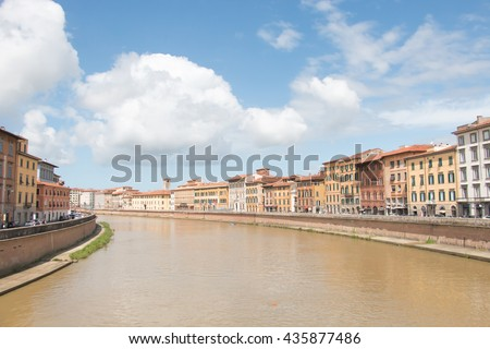 the Arno river ,Italy (vintage style)