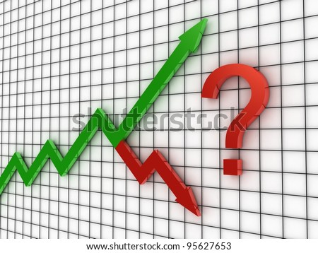 The arrow of the diagram shows growth and crisis, 3D images - stock photo