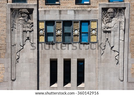 The Art Deco style of sculpture on this exterior wall building on lexington Avenue in Manhattan. - stock photo