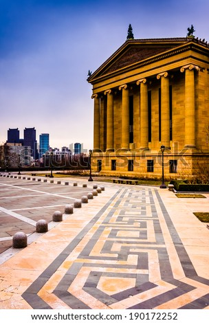 The Art Museum and skyline in Philadelphia, Pennsylvania. - stock photo