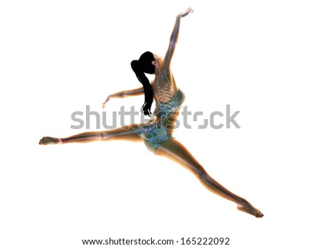 The art of the body. Female doing an artistic pose with an x-ray bone skeletal structure on a white background. - stock photo
