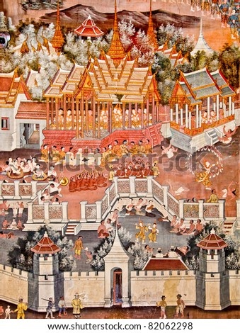 The Art thai painting on wall in temple? This is traditional and generic style in Thailand. No any trademark or restrict matter in this photo. - stock photo