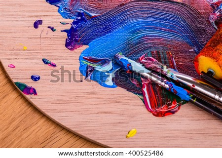 The artist's work. Multi-colored paint on canvas