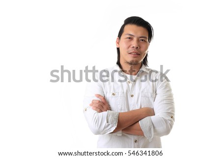 The Asian man on the white background.