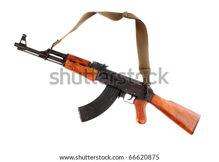 The assault rifle traditional weapon for terrorist guerrilla isolated on a white background. - stock photo