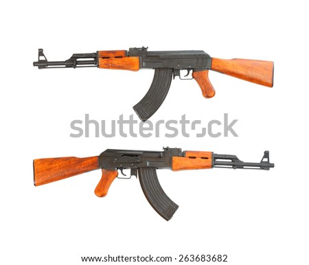 The assault rifle traditional weapon for terrorist isolated on a white background. - stock photo