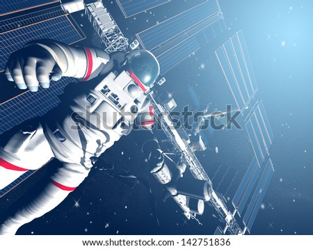 The astronaut and flying modern satellite in outer space - stock photo