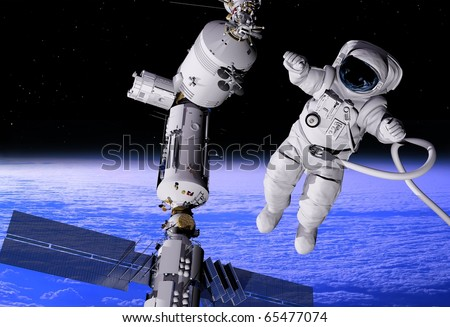 The astronaut  in outer space - stock photo