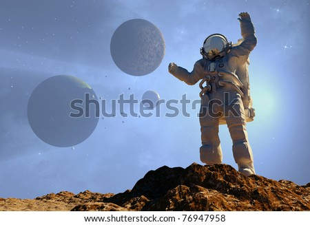 The astronaut  on the background of the planet.