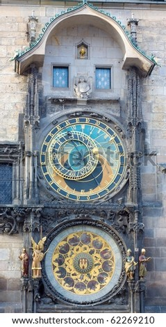 The astronomical clock in Prague, Czech republic in the Old Town Square. - stock photo