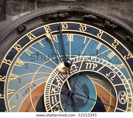 The astronomical clock in the old town square, Prague Czech Republic.