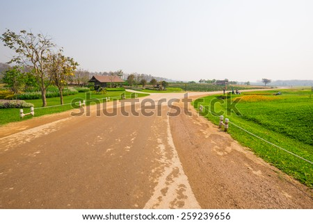 The atmosphere on rural road with landscape view in countryside of northern Thailand. - stock photo