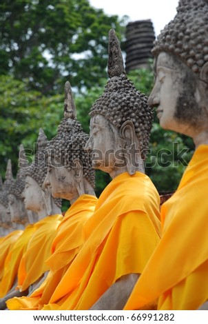 The Attractive Buddha images in Ayuthaya, Thailand - stock photo