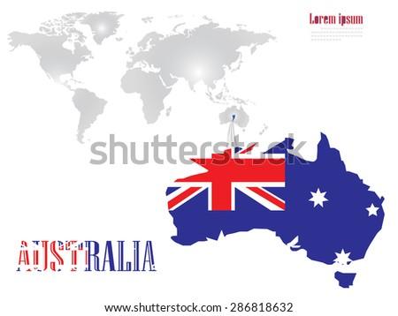 The australia on the world map - stock photo