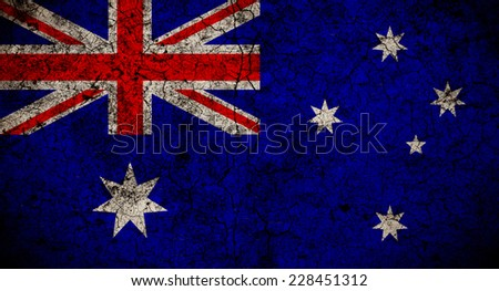 The Australian flag painted on grunge wall - stock photo