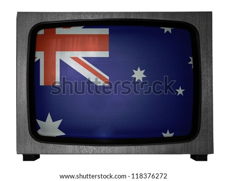 The Australian flag painted on  old TV - stock photo
