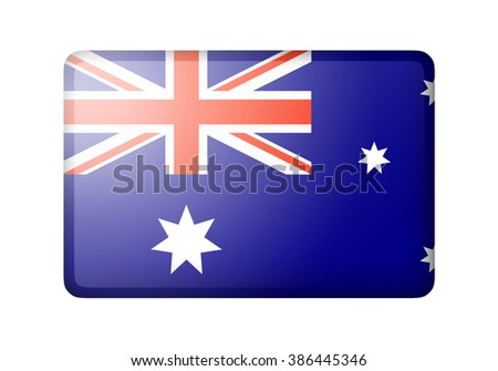 The Australian flag. Rectangular matte icon. Isolated on white background. - stock photo