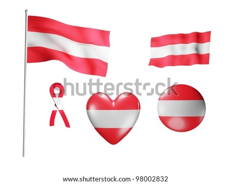 The Austria flag - set of icons and flags on white background