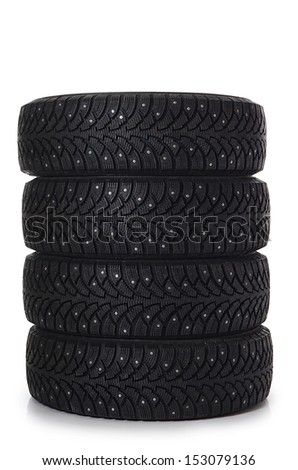 The automobile tire isolated on white background - stock photo