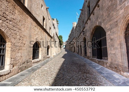 The Avenue of The Knights in the heart of the Old Town, it is best-preserved example of a medieval streets in Europe. - stock photo