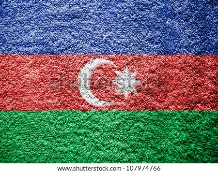 The Azerbaijani flag painted on towel surface - stock photo
