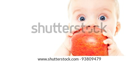 The babe with fresh fruit, isolated on the white