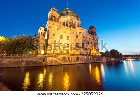 The back of the Dom in Berlin at night - stock photo