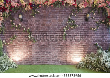 The backdrop at the wedding ceremony with background.people use in wedding day. - stock photo