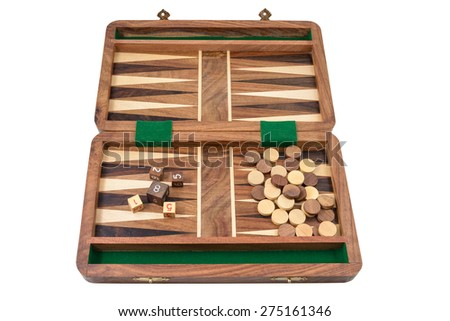 The backgammon is photographed on the white background - stock photo