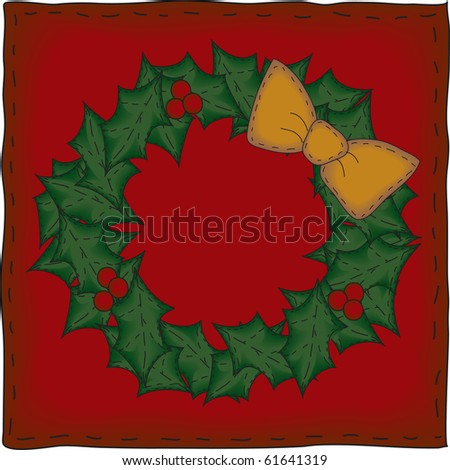 The background banner and wreath are grouped individually. - stock photo