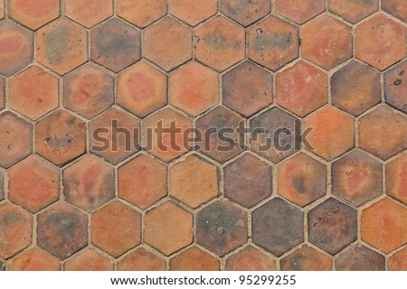 The background image of hexagonal clay tiles - stock photo