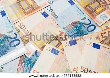 The background make from twenty ant fifty euro banknotes - stock photo