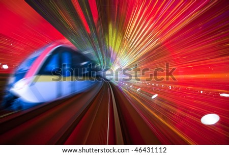 the background of a train with motion blur - stock photo
