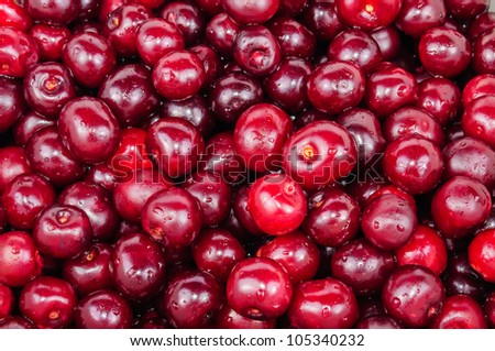 The background of red cherry fruit. Photo Close-up - stock photo