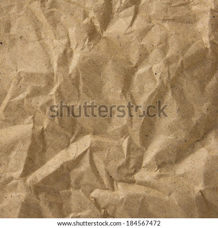 the background, texture of the old brown paper with crumpled is grunge pattern - stock photo
